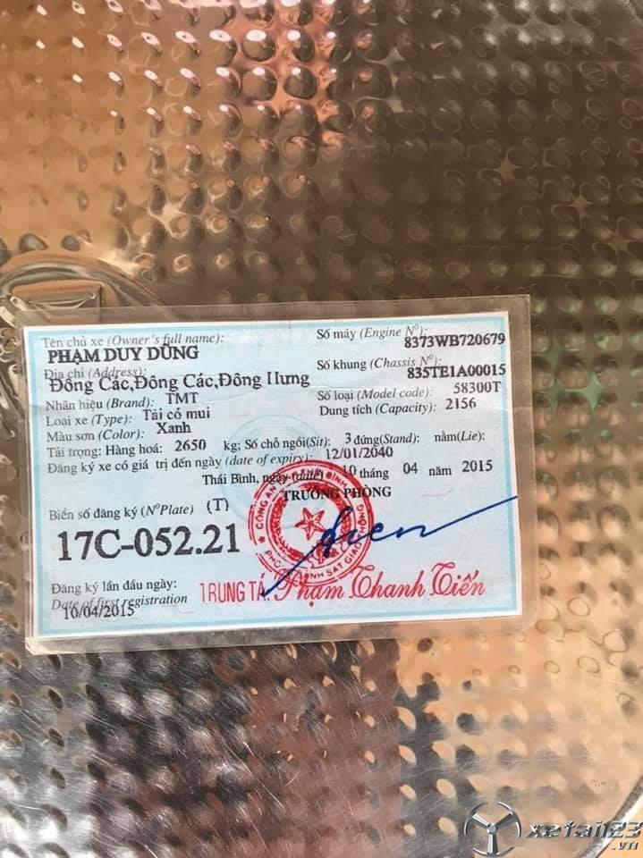Rao bán xe TMT đời 2014 thùng mui bạt giá rẻ nhất