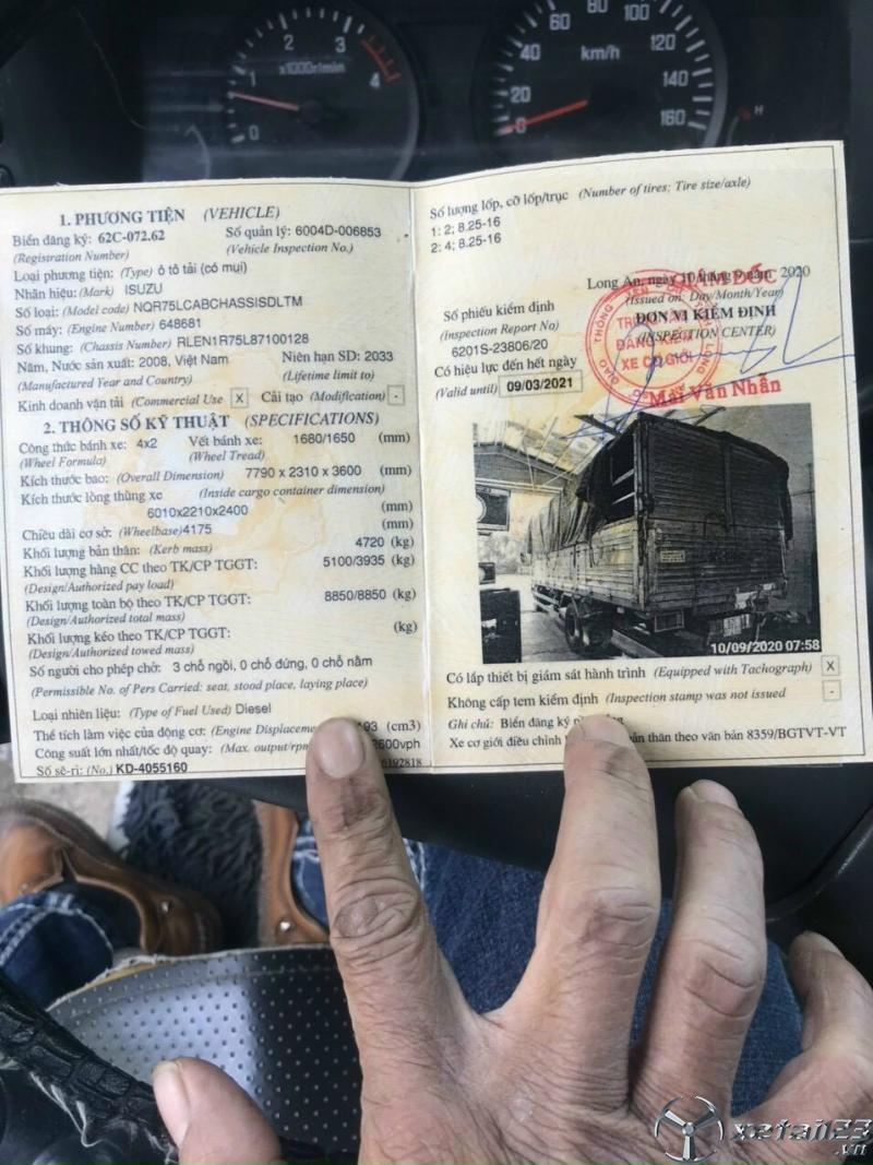 Cần bán Isuzu đời 2008 thùng mui bạt