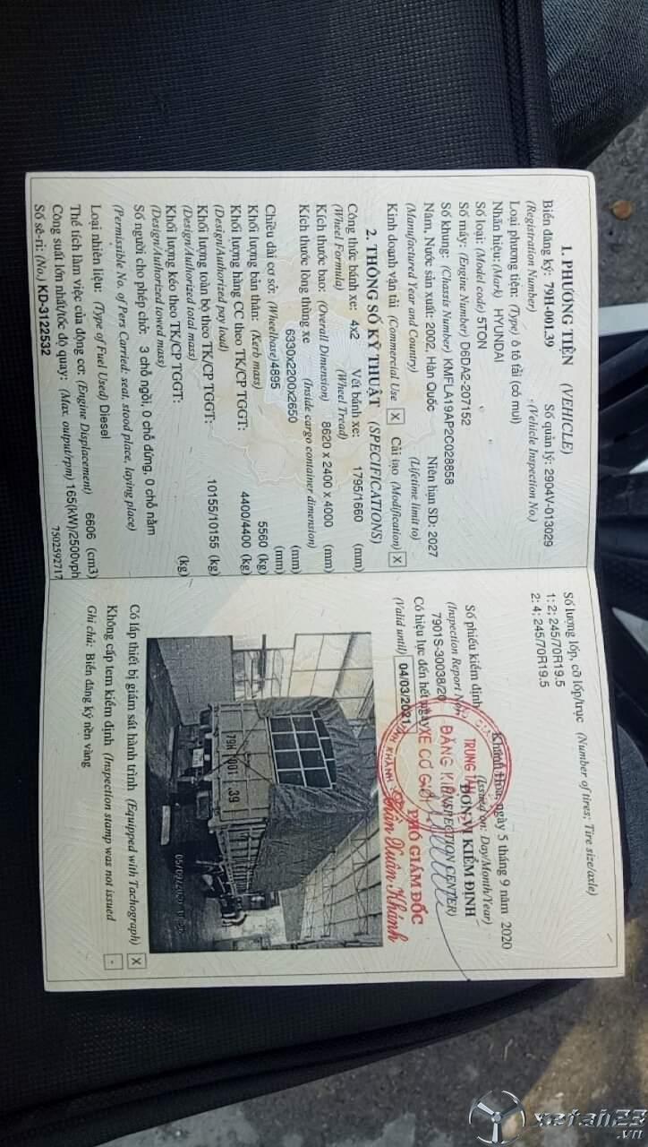 Thanh lý gấp xe Hyundai 5 tấn đời 2002 thùng mui bạt với giá 375 triệu