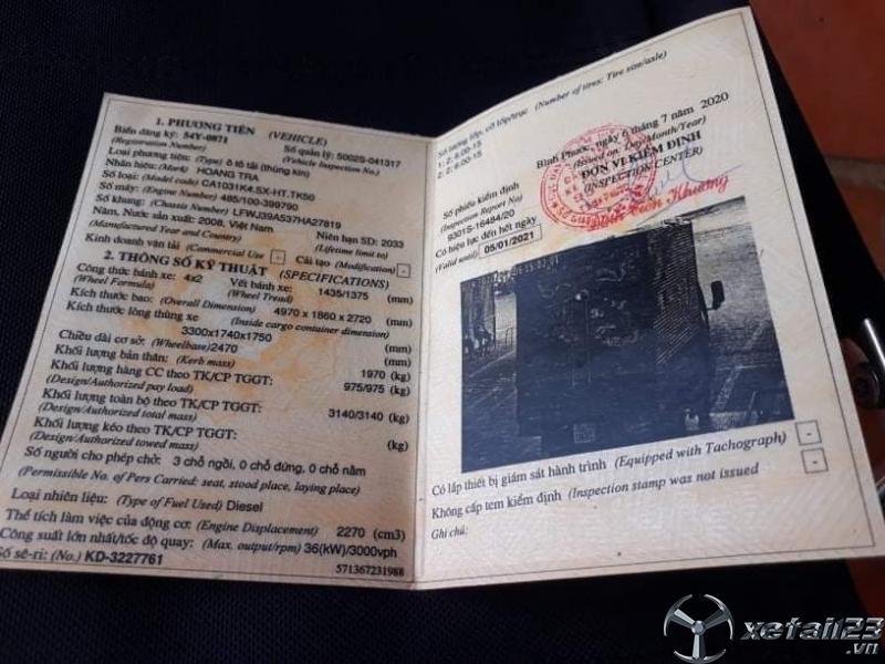 Bán xe Hoàng Trà 1 tấn đời 2008 phiên bản thùng kín
