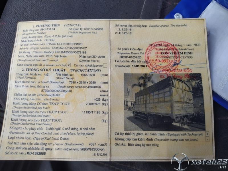 Bán Thaco Ollin 700B sx 2015 thùng mui bạt với giá chỉ 320 triệu