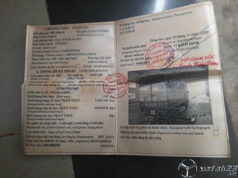 Thanh lý gấp xe Hyundai 1,1 tấn đời 1999 thùng mui bạt