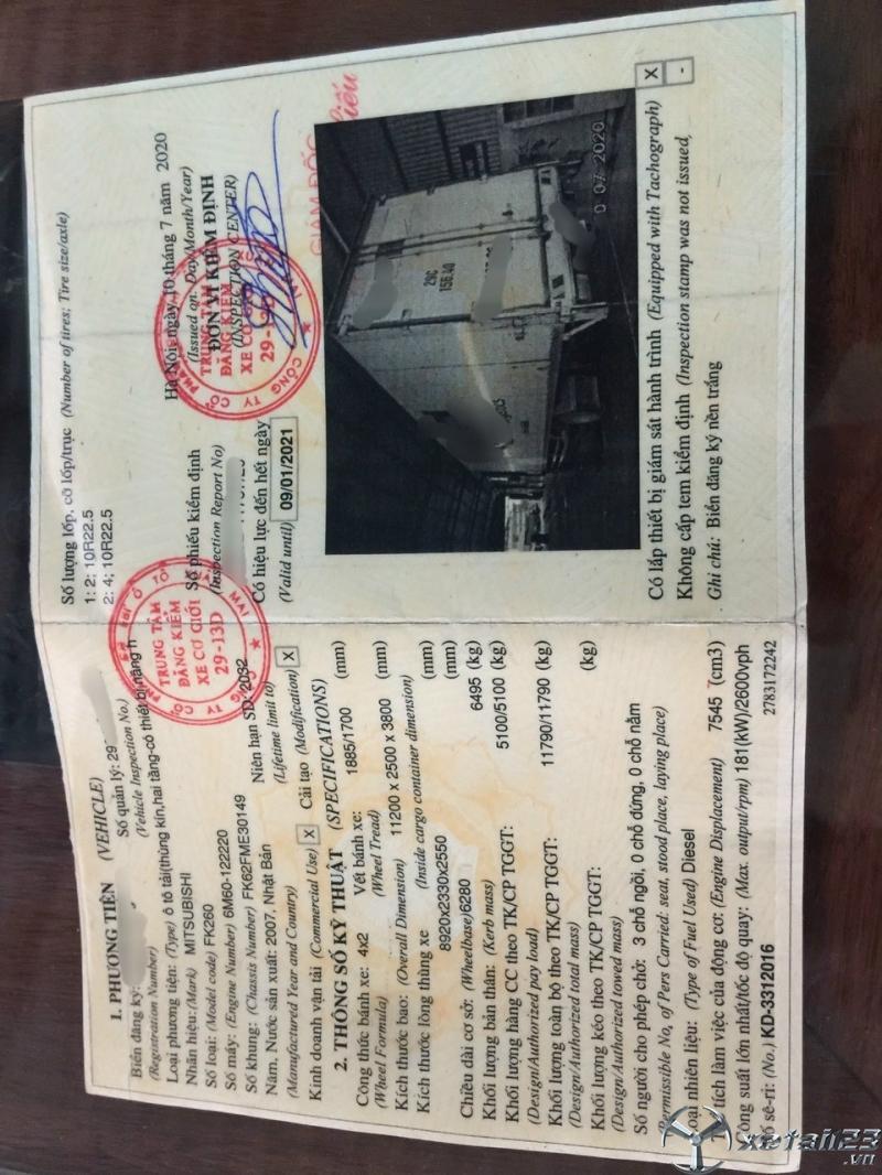 Rao bán xe Fuso 5,1 tấn đời 2007 phiên bản thùng kín