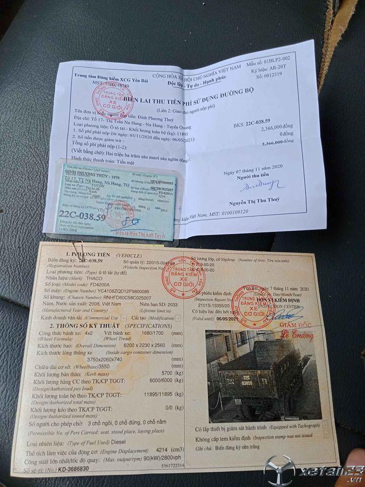 Cần bán chiếc xe ben Thaco FD 6 tấn, 1 cầu đời 2008 giá 100 triệu