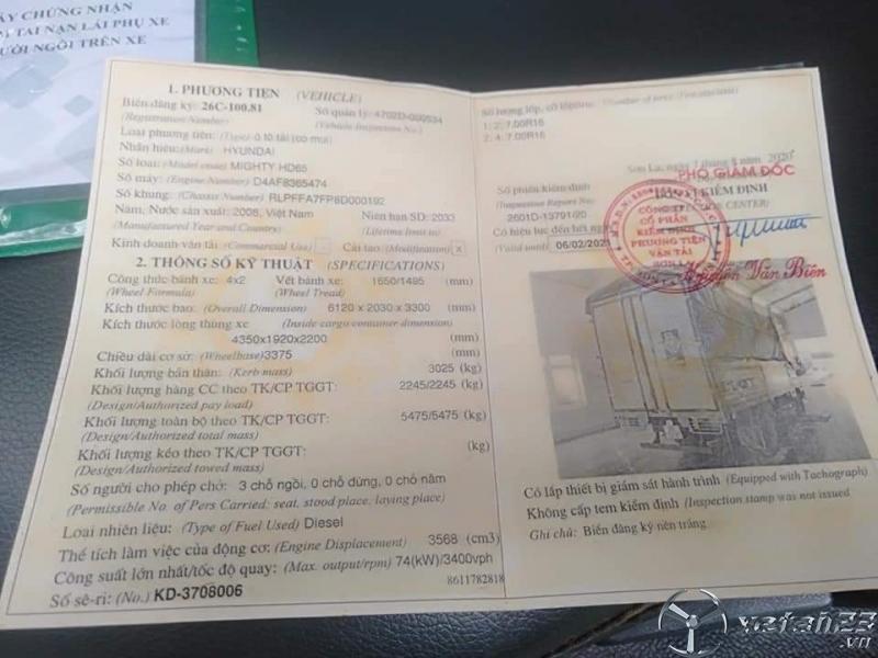 Thanh lý gấp xe Hyundai HD65 đời 2008 thùng mui bạt với giá chỉ 288 triệu