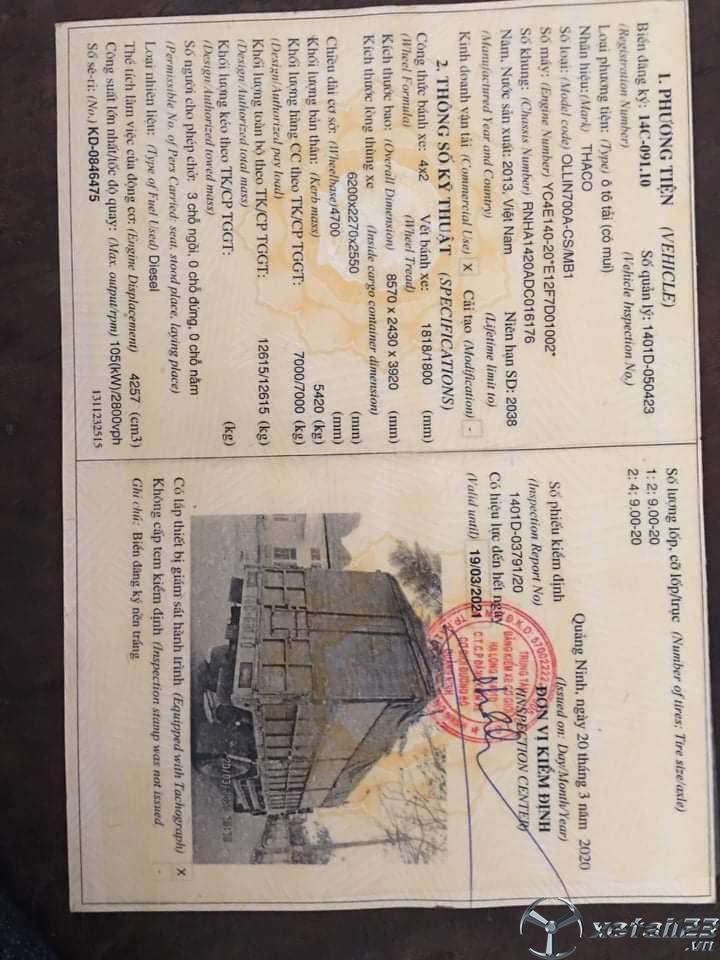 Bán Thaco Ollin 700A 7 tấn đời 2013 thùng mui bạt giá rẻ chỉ 350 triệu