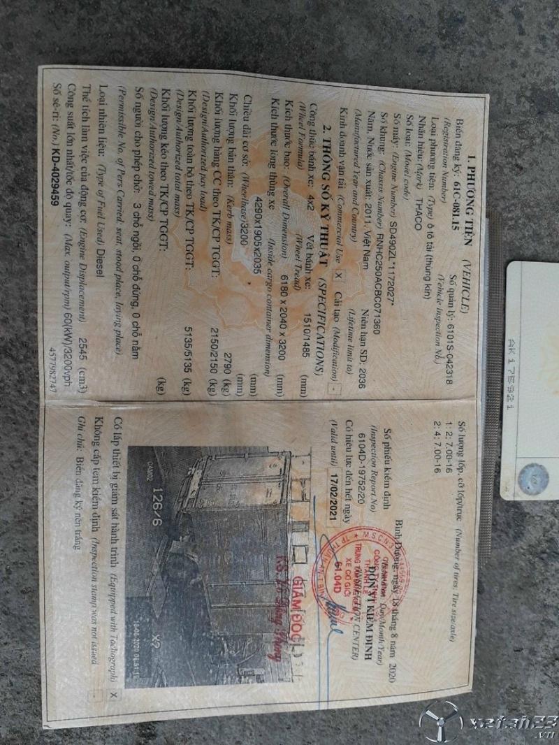 Cần bán xe Thaco Forland đời 2011 thùng kín giá chỉ 105 triệu