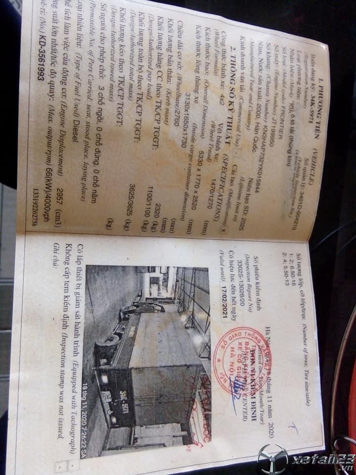 Bán xe Kia Frontier sx 2000, đăng kí 2001 thùng kín giá rẻ nhất