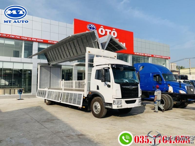 xe tải faw 8 tấn thùng dài chở pallet gỗ, bao bì giấy