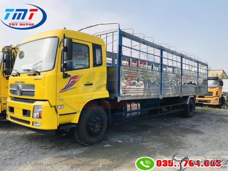 xe tải hoàng huy b180 thùng dài 7m5 và 9m5 chở pallet , bao bì giấy