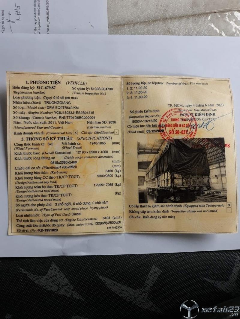 Bán xe Trường Giang 9,3 tấn đời 2011 thùng mui bạt , sẵn xe giao ngay