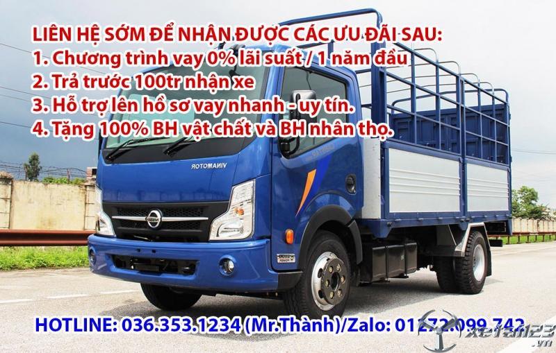Bán xe tải 1 tấn 9 thùng dài 4m3, động cơ dầu. Trả trước 80tr-90tr nhận xe ngay