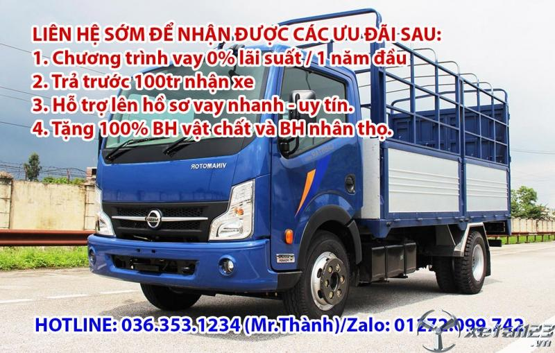 Bán xe tải vinamotor động cơ nissan 1t9 thùng bạt 4m3