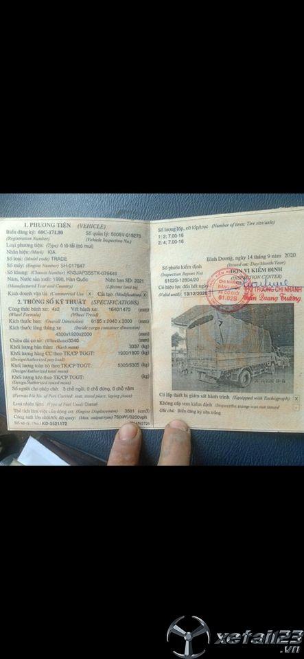 Bán gấp xe Kia 1,9 tấn đời 1996 thùng mui bạt giá 47 triệu