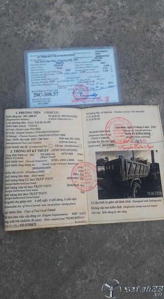 Cần bán chiếc xe ben Thaco FD 4,5 tấn đời 2007 giá 55 triệu