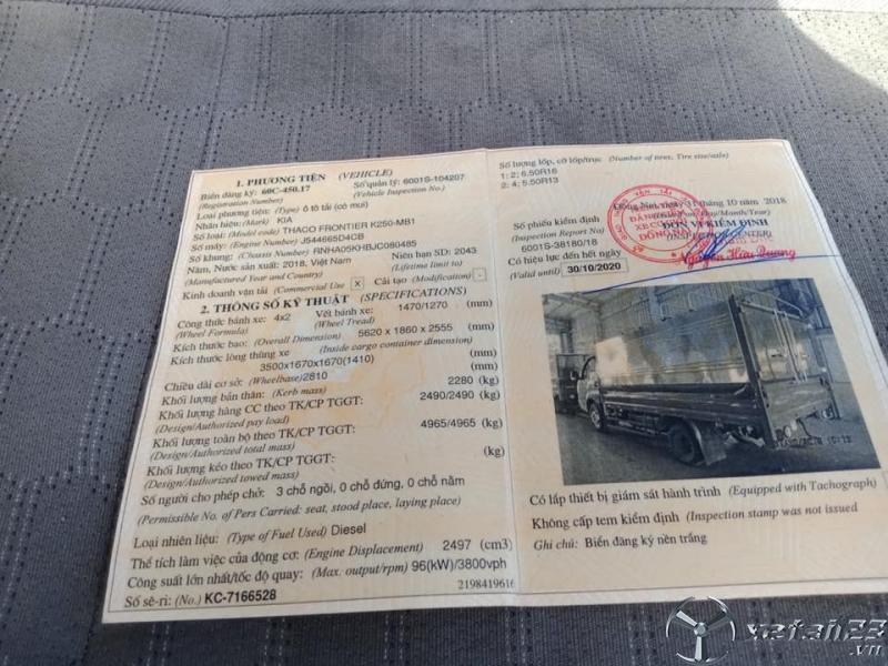 Xe Kia Frontier 2,4 tấn đời 2018 thùng mui bạt cần bán với giá chỉ 350 triệu