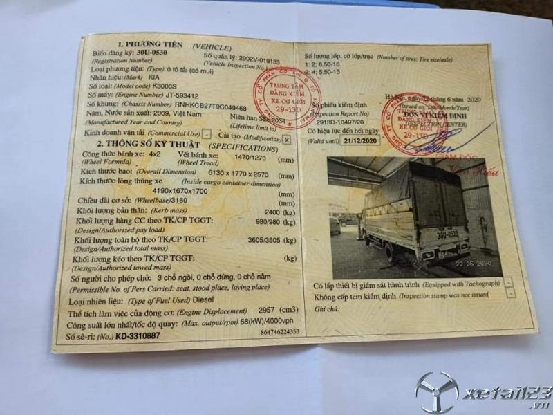 Bán gấp xe Kia K3000S 1 tấn đời 2009 thùng mui bạt