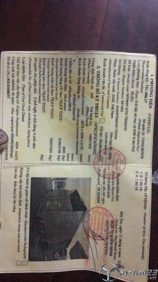 Rao bán xe Isuzu 3,2 tấn đời 2008 thùng mui bạt với giá chỉ 285 triệu