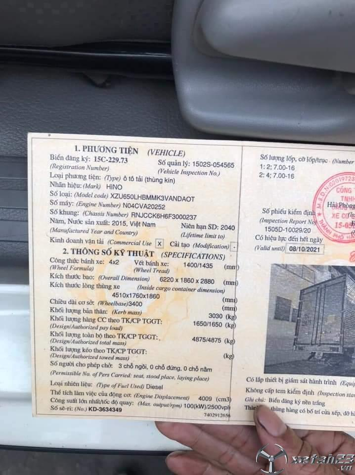 Bán xe Hino XZU650L tải trọng 1,65 tấn đời 2015 thùng kín
