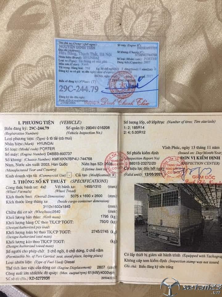 Cần bán xe Hyundai Porter 750Kg 1 tấn đời 2003 thùng mui bạt gía rẻ nhất