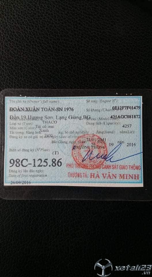 Bán xe Thaco Ollin 800A 8 tấn đời 2016 thùng mui bạt