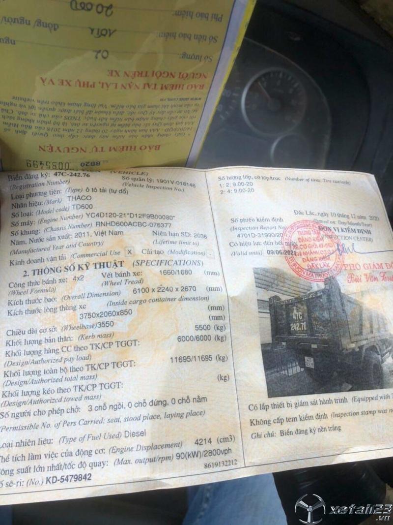 Cần bán xe ben Thaco 6 tấn sản xuất năm 2011