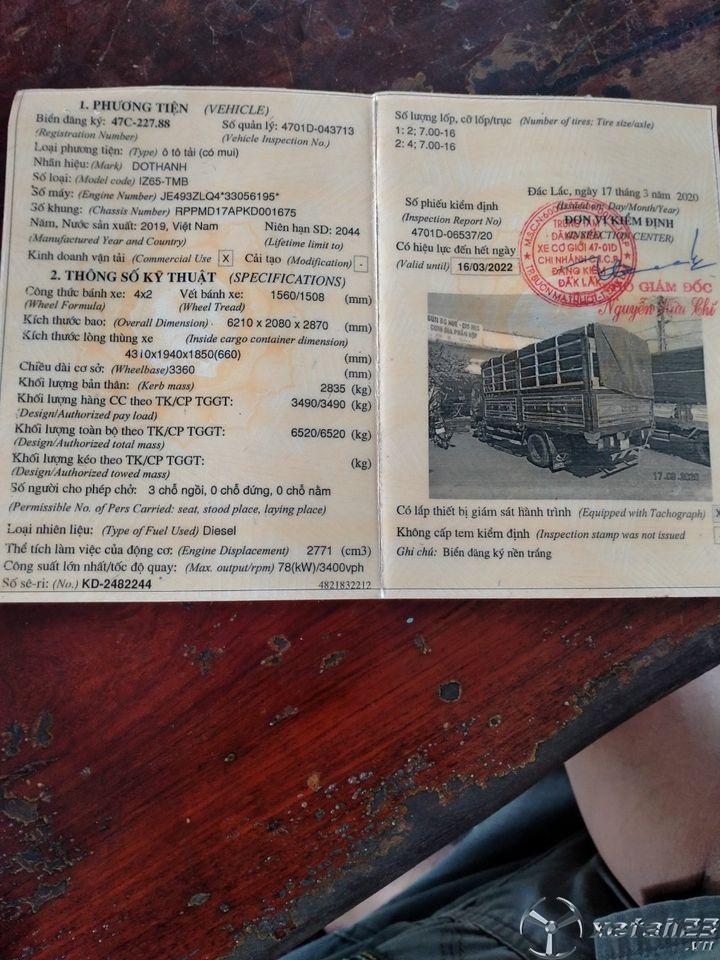 Xe Đô Thành IZ65 3,5 tấn đời 2019 , đăng kí 2020 thùng mui bạt cần bán giá chỉ 370 triệu
