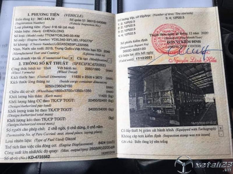 Xe Chenglong 5 chân đời 2015 thùng mui bạt đã qua sử dụng cần bán giá tốt nhất