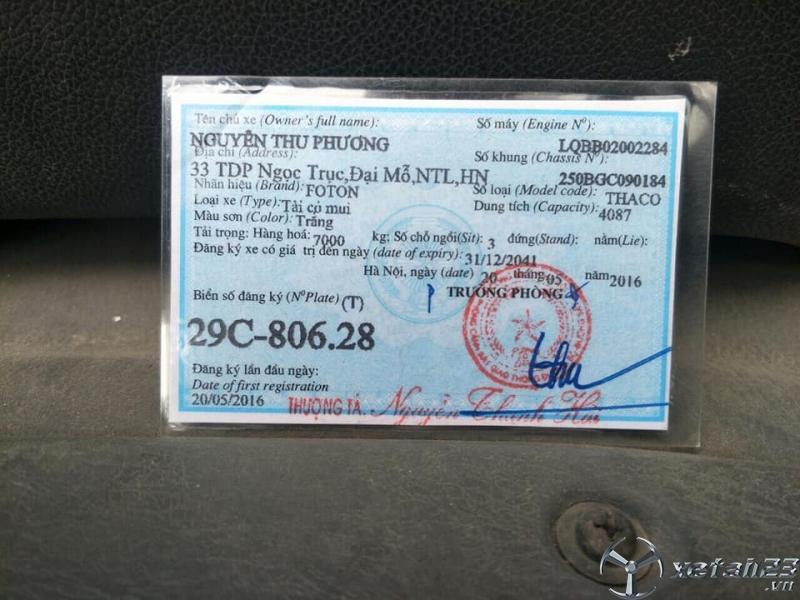 Rao bán xe Thaco Ollin 700C sản xuất năm 2016 thùng mui bạt giá rẻ nhất