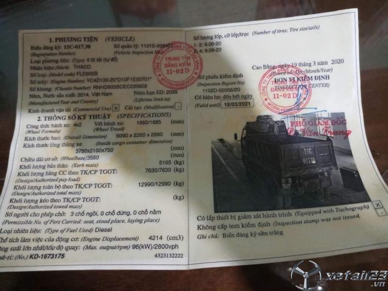Cần bán xe Thaco Forland 7,6 tấn một cầu đời 2014 giá chỉ 270 triệu