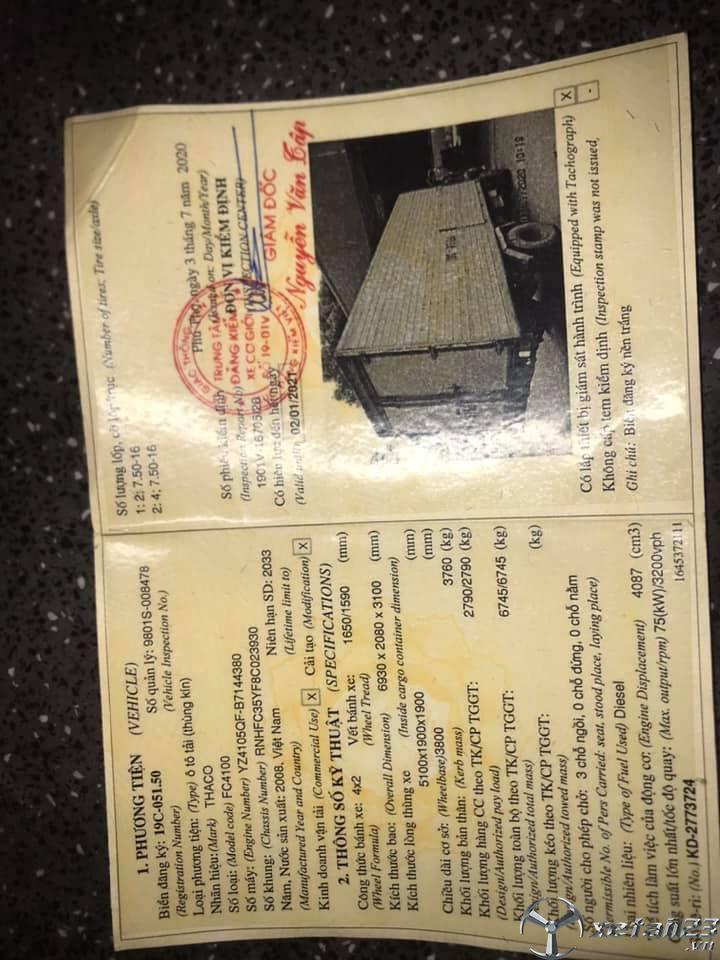 Thanh lý gấp xe Thaco FC 3 tấn sản xuất 2008 thùng kín với giá chỉ 65 triệu