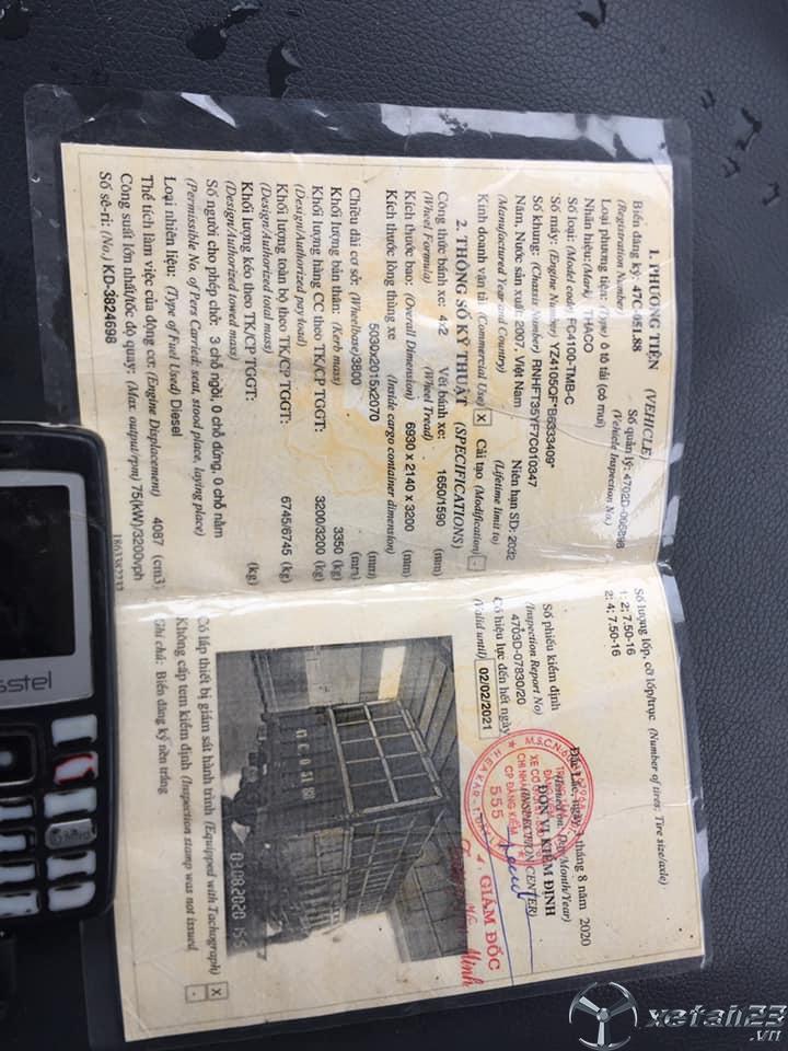 Cần bán xe Thaco FC 3,2 tấn đời 2007 thùng mui bạt giá chỉ 80 triệu