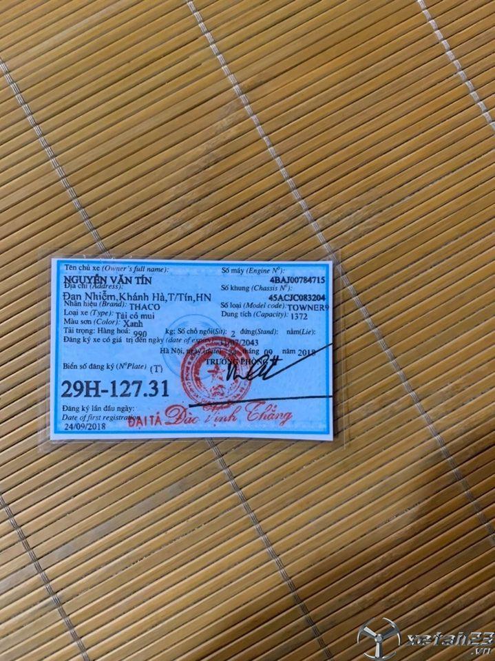 Rao bán xe Thaco Towner 990Kg đời 2018 thùng mui bạt