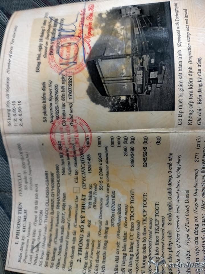 Rao bán xe Thaco Ollin 350 3,5 tấn đời 2017 , đăng kí lần đầu năm 2018 thùng mui bạt