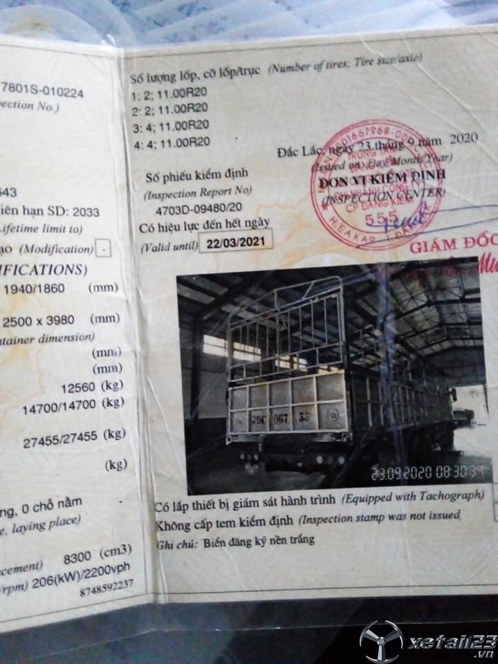 Thanh lý gấp xe Dongfeng 4 chân 14,7 tấn sx năm 2008 thùng mui bạt