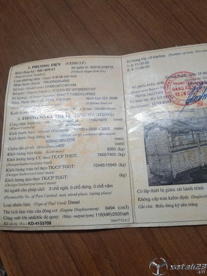 Xe Trường Giang 8 tấn sản xuất 2013 thùng mui bạt cần bán giá tốt nhất