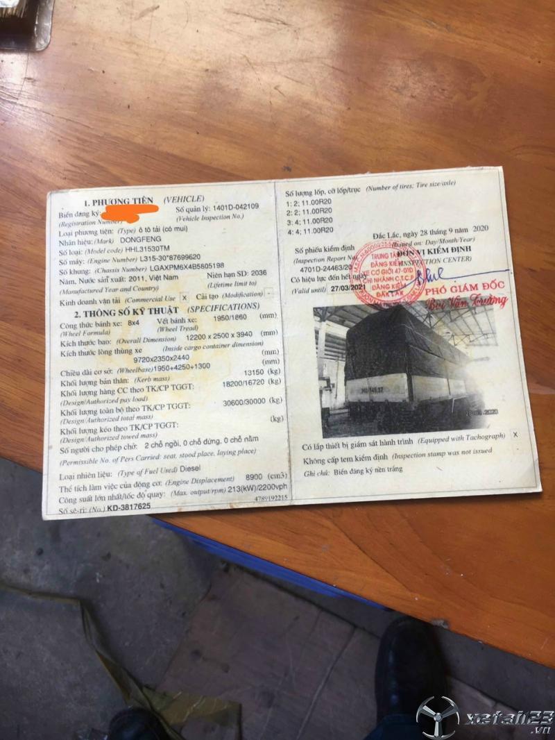 Bán gấp xe Dongfeng Hoàng Huy đời 2011 thùng mui bạt