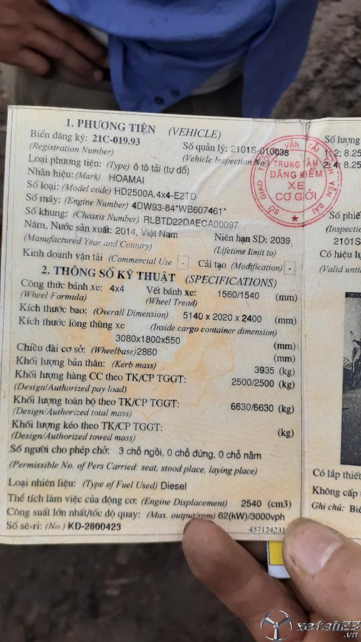 Cần bán chiếc xe ben Hoa Mai 2, 5 tấn đời 2014 giá 190 triệu