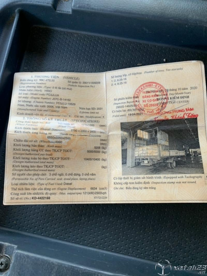 Thanh lý gấp xe Hino FC 5 tấn đời 2006 thùng mui bạt