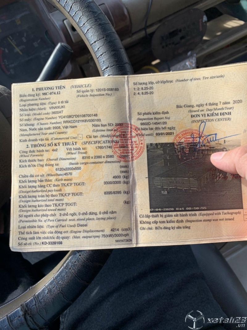 Thanh lý gấp xe Vinasuki 3,3 tấn đời 2008 giá rẻ