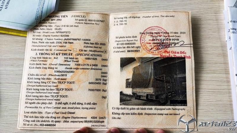 Rao bán xe Isuzu NPR 3,45 tấn đời 2008 thùng mui bạt