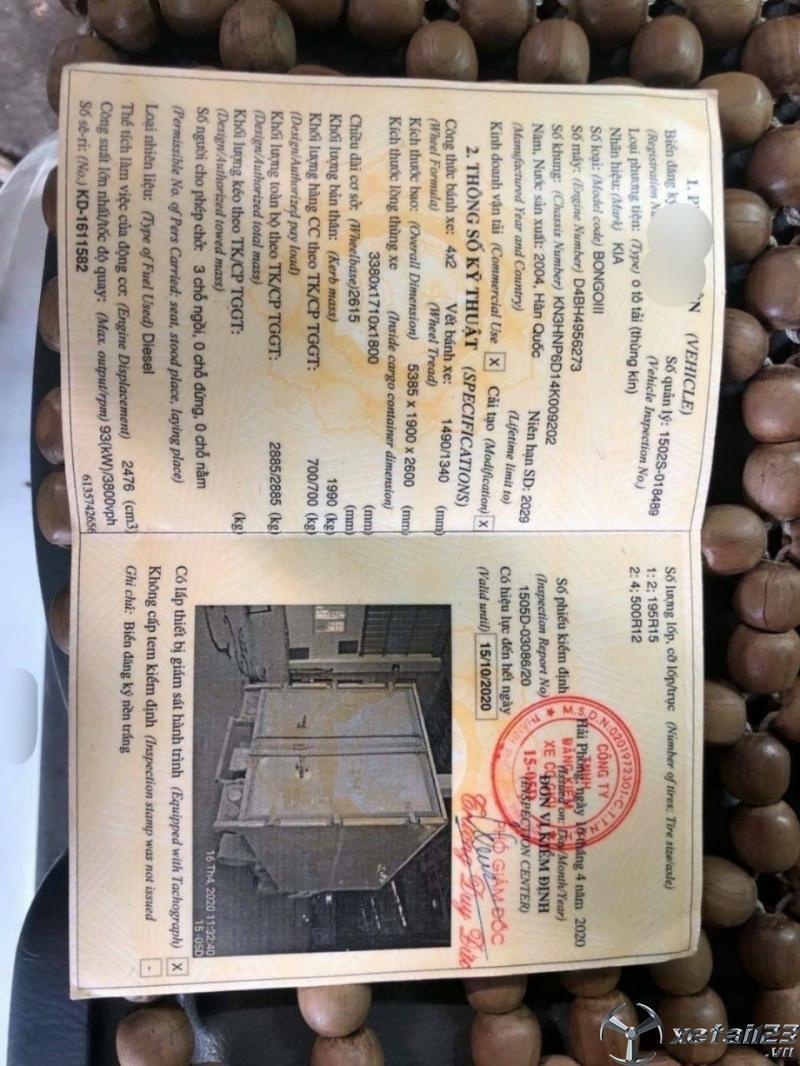 Bán Kia Bongo III 7 tạ đời 2004 thùng kín
