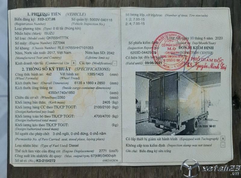 Rao bán xe Isuzu 2,1 tấn đời 2017 thùng kín