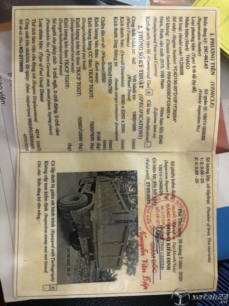 Thaco 7T63 đời 2015