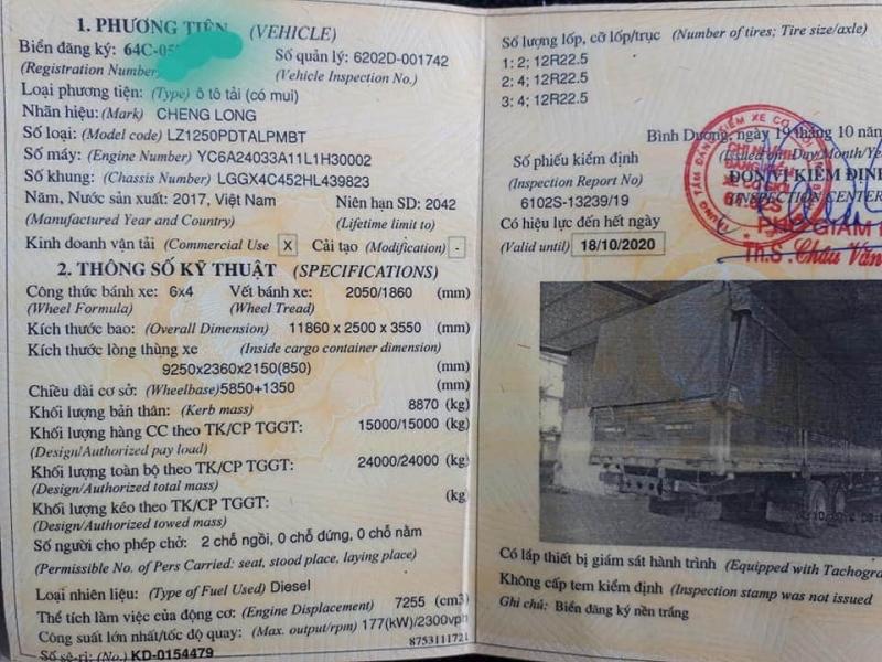 Bán xe Chenglong đời 2017 thùng mui bạt đã qua sử dụng .Chỉ với 900 triệu nhận ngay xe đẹp