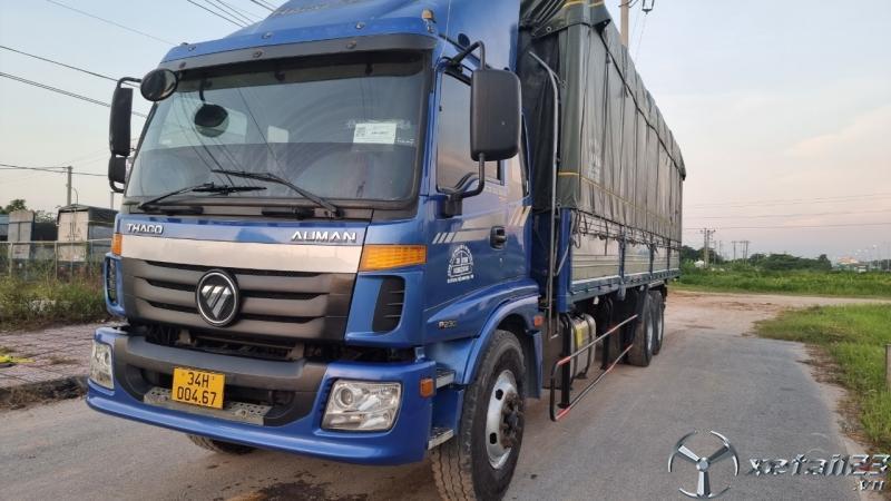 Bán gấp xe Thaco Auman 3 chân cầu lết sx 2014 thùng mui bạt dài 9,7m cao 4m