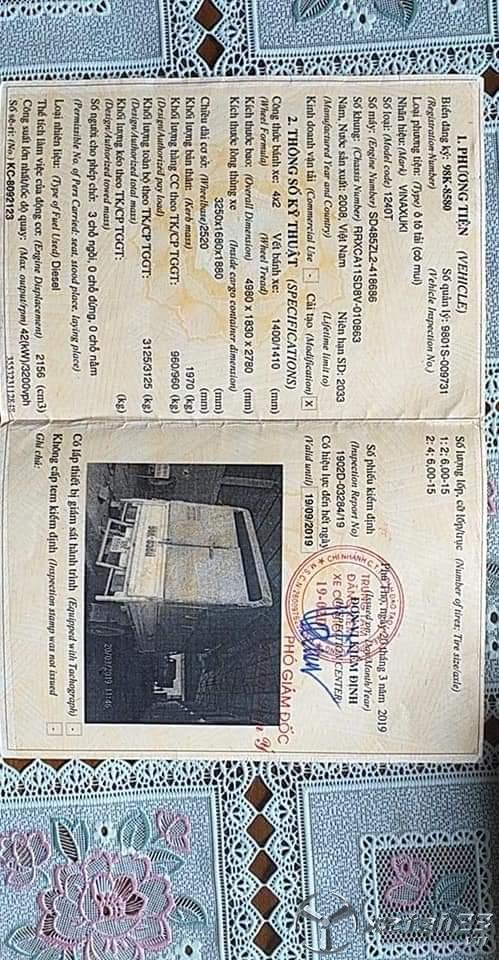 Bán Vinasuki thùng mui bạt đời 2008 đã qua sử dụng giá chỉ 50 triệu