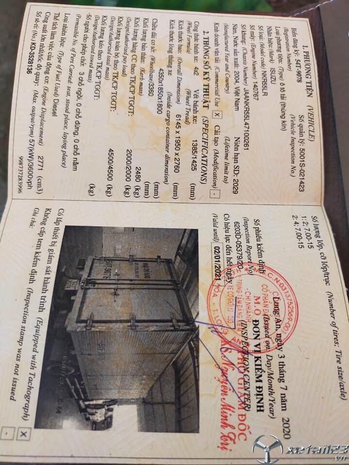 Bán Isuzu 2 tấn đời 2004 thùng kín