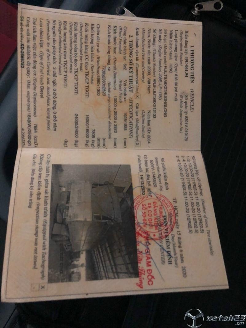 Cần bán gấp xe Hino 3 chân đời 2009 thùng mui bạt với giá 890 triệu
