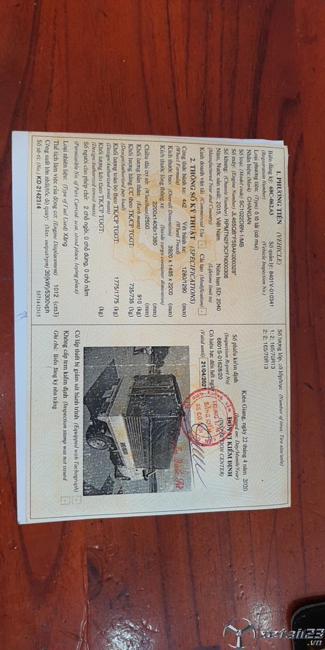 Thanh lý gấp Veam đời 2015 thùng mui bạt giá chỉ 90 triệu